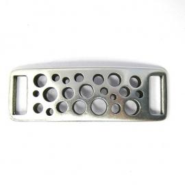 DQ metaal tussenzetsel voor armband 14x41mm gat 3x10mm `opengewerkt` (B03-007-AS)