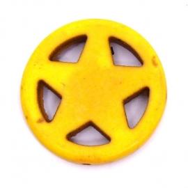 BJ352 keramiek kraal rond 25mm sherrifstar kleur geel