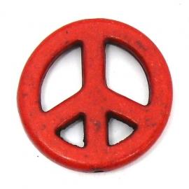 BJ357 keramiek kraal peace rood 25mm
