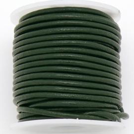 DQ rond leer 2mm - 1 meter - kleur BOTTLE GREEN (BRL-02-45)