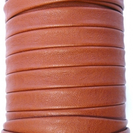 DQ platte leerband 10mm breed soft nappa leather 2-sided kleur brown - 20cm