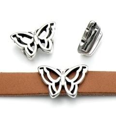 DQ metaal schuifkraal opengewerkte vlinder voor 10mm breed leer (B04-047-AS)