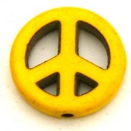 BJ379 keramiek kraal peace 15mm kleur donkergeel