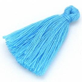 kwastje satijn lengte circa 30mm kleur azure blue (KW-30-014)