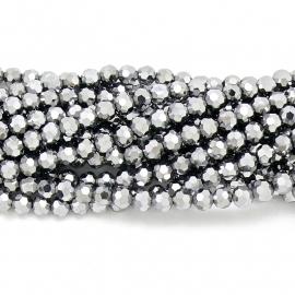 glaskraal rond facet 6mm - streng van ongeveer 100 kralen (BGK-002-008) kleur metallic white