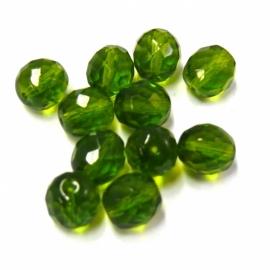 (BJG-004) glaskraal facet 10mm rond groen- 5 stuks
