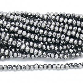 glaskraal rondel facet 4x6mm - streng van ongeveer 100 kralen (BGK-005-007) kleur Metalic Silver