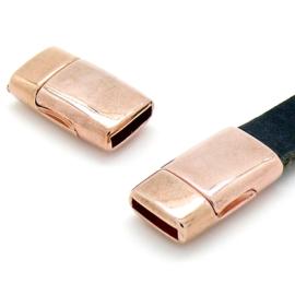 DQ metaal ROSE goud magneetsluiting voor 10mm plat leer, gat 10x2.5mm (B07-113-RG)