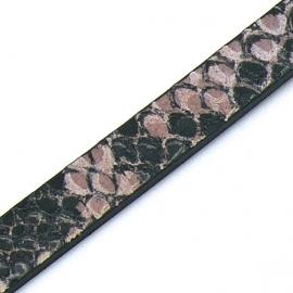DQ professional platte leerband 10mm breed en 2,6mm dik, 20cm lang snake rose (PL10-HLP-20)