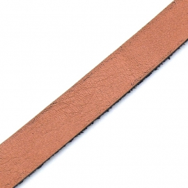 Basic leren band breed 10mm - 2,5 dik circa 100cm lang - kleur Orange/Peach (PL10-017)