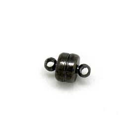DQ metaal GUNMETAL magneetsluiting Plat Rondje met 2 oogjes maat 5,3x6,8mm (B07-131-GM)