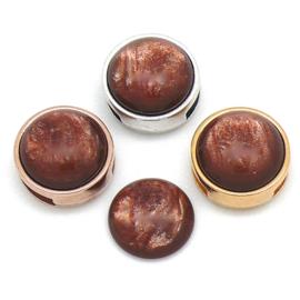 polariscabochon pearl 12mm - kleur shine cognac (CAB-12-033)
