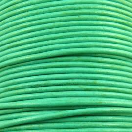 DQ leer 2mm rond (1 meter) kleur blauw/groen