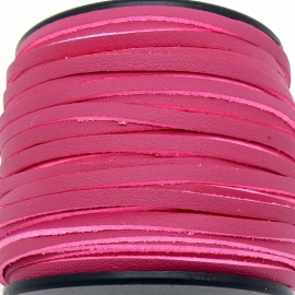 imitatie suede veter 3mm breed - 2m lang - kleur fuchis leer/suede (BSL-3-22)