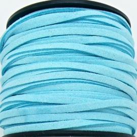 imitatie suede veter 3mm breed - 2m lang - kleur turquoise (BSL-3-15)