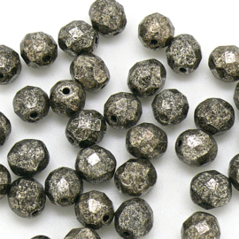 (BJBR-020) glaskraal rond facet geslepen 8mm col. 18549CR kleur metalic Antique Platium - 10 stuks