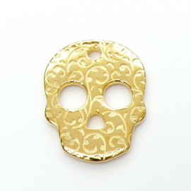DQ metaal GOUD hanger skull versierd 26x33mm (B02-032-SG)