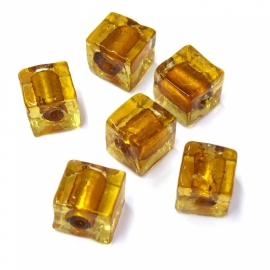 (BJBR-026) glaskraal vierkant 12mm bruin silverfoil - 2 stuks