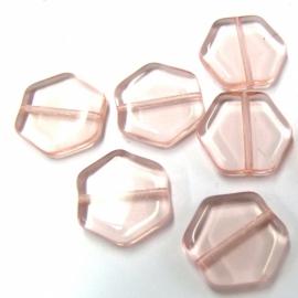 (BJRO-022) glaskraal platte zeskant zalmrose 15mm  - 10 stuks