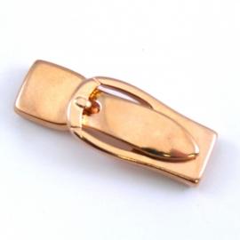DQ metaal ROSE GOLD magneetsluiting gesp voor 10mm breed plat leer (maat slot 4cm - gat 1,5x10mm) (B07-017-RG)
