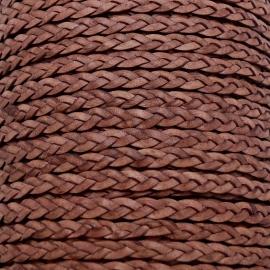 DQ plat gevlochten soft leather 6mm breed kleur vintage cognac- 20 cm (BPGL-06-03)