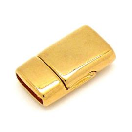 DQ metaal GOUD magneetsluiting voor 10mm plat leer, gat 10x2.5mm (B07-113-SG)