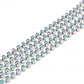 "swarovski cupchain 27000 p18 ""BEZEL"" setting Rhodium - kleur crystal parsh (prijs per 1 cm)"