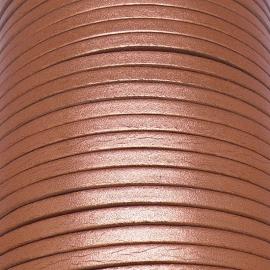 soepele lederen band smal 5mm - dik 2mm - kleur metalic koper - 20cm (PL05-027)