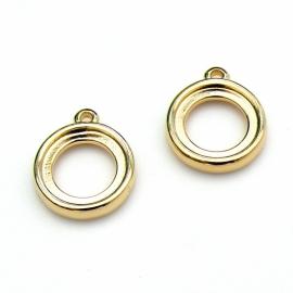 DQ metaal GOLD bedel setting 2 zijdig geschikt voor 2 cabochons maat 12mm (B02-080-SG)