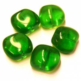 (BJG-009) glaskraal afgeronde vierkant bol 15x18mm groen - 5 stuks