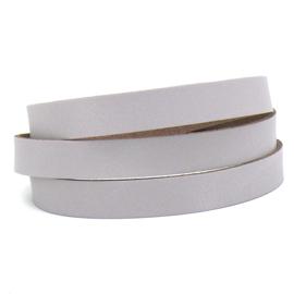 DQ leren band smal 15mm - 2,1 dik circa 100cm lang - kleur trend Paris Grey (PL15-009)