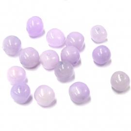 glaskraal lila onregelmtig rond 10mm (BJP031) - 10 stuks