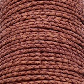 DQ 3mm rondgevlochten soft leather- kleur vintage cognac - 20cm (BRGL-3-03)