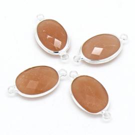 Ovale tussenzetsel met facetgeslepen glassteen met zilveren rand - maat 13x25mm - kleur creme opal