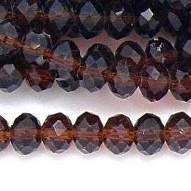 glaskraal rondel facet 6x8mm kleur amber (BGK-006-003) - 35 stuks