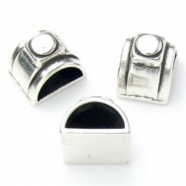 DQ metaal schuifkraal voor 10mm breed leer dubbelgestikt tunnelbuisleer (gat 5,2x10mm) (B04-048-AS)