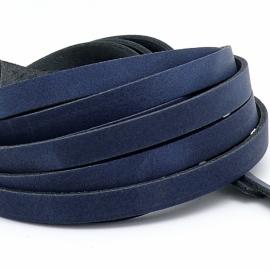 DQ leren band breed 10mm - 2,3 dik circa 100cm lang - kleur trend blauw (PL10-016)
