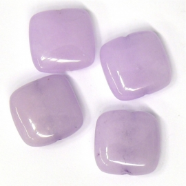 glaskraal lila plat vierkant 15mm (BJP004) - 5 stuks