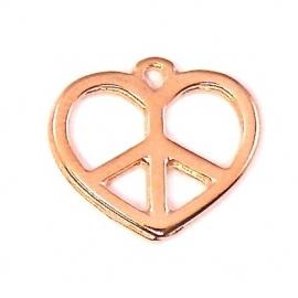 DQ metaal ROSE GOUD Hanger Peace-Hart 15x17mm (B02-039-RG)