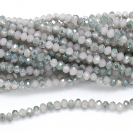 glaskraal rondel facet 4x6mm - streng van ongeveer 100 kralen (BGK-005-028) kleur rosewater diamond coating