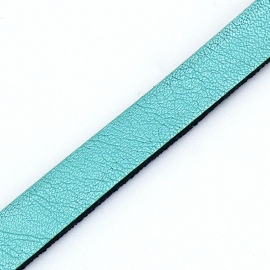 Basic leren band breed 10mm - 2,5 dik circa 100cm lang - kleur Metalic Mint (PL10-020)