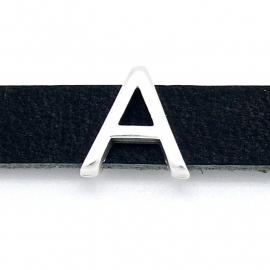 DQ metaal schuifkraal voor 10mm breed leer - letter A - maat 13x14mm - gat 2,5x10mm (B04-068-AS)