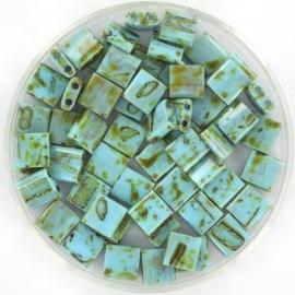 TL5-4514 Miyuki Tila 5x5mm - 5 gram - kleur opaque picasso turquoise