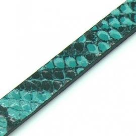 DQ professional platte leerband 10mm breed en 2,6mm dik,  20cm lang snake turquoise (PL10-HLP-21)
