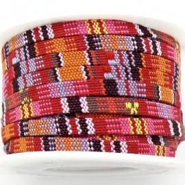 AZTEC Cord 5mm breed kleur multi pink - 20cm (BAK-5-02) LET OP: GEEN LEER!