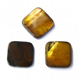 schelp vierkant 15x15mm kleur parelmoer bruin met ronde hoeken (BJSC024)