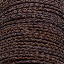DQ 3mm rondgevlochten soft leather- kleur vintage dark violet - 20cm (BRGL-3-07)
