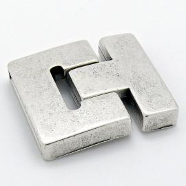 DQ metaal magneetsluiting T-shape maat 33x37mm gat 3x30mm (B07-074-AS)