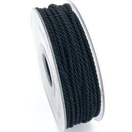 gedraaid koord 3mm dik - kleur zwart - (KL304619) - lengte 2 meter