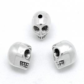 DQ metaal kraal doodshoofd / skull maat 10x13mm - gat 1,5mm (B01-054-AS)